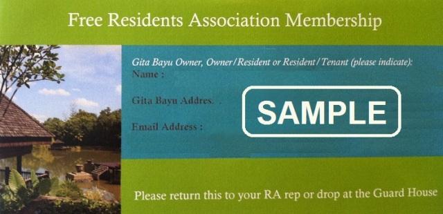 Gita Bayu Resident Association Free Membership Form